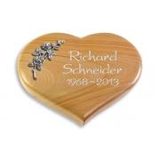 Grabstein Coeur / Woodland mit Aluminium-Ornament