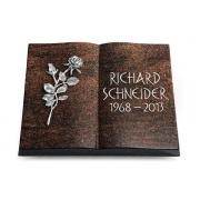 Grabbuch Livre / Englisch-Teak mit Aluminium-Ornament