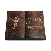 Grabbuch Livre / Englisch-Teak mit Bronze-Ornament